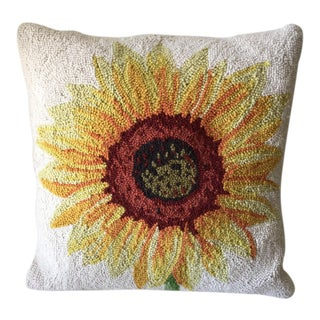 Vintage Embroidered Sunflower Pillow