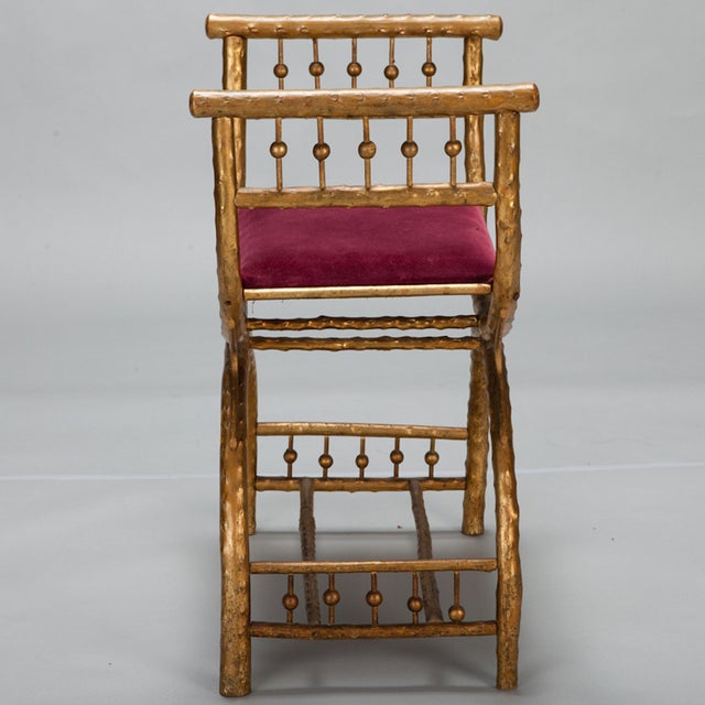 Gilt Wood Egyptian Style Stool With Velvet Seat - Image 5 of 5