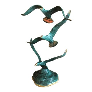 Mid Century Coppered Brass Seagull Sculpture