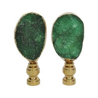 Deep Emerald Geode Finials in 14kt Gold - A Pair