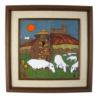 Shepherd And His Flock Tile Art