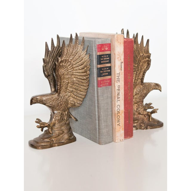 Image of Brass Eagle Statuettes or Bookends - A Pair