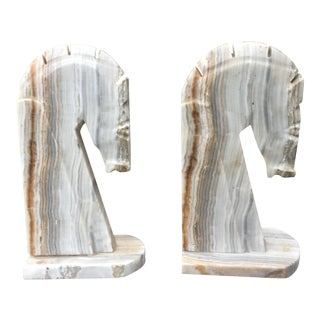 Vintage Mid-Century Modern Onyx Marble Horse Head Bookends - A Pair