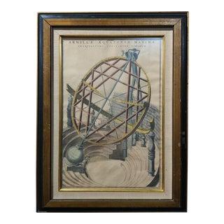 """Joan Blaeu """"Armillae Equatoriae Maximae"""" Antique 17th Century Engraving"""