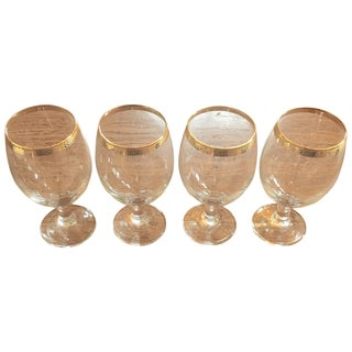 Vintage Wine Glasses With Gold Rim - Set of 4