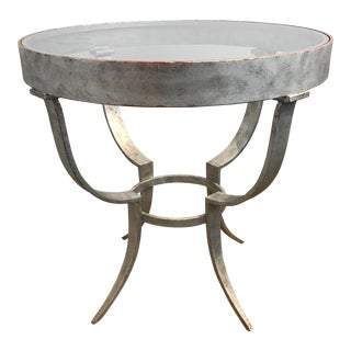 Aluminum Glass Top Occasional Table