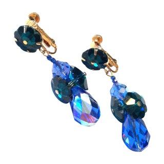 1960s Blue & Green Crystal Drop Clip Earrings