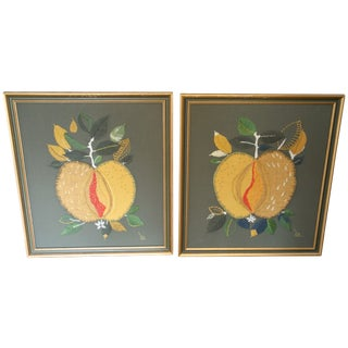 Vintage Fabric Art Wall Hangings - A Pair