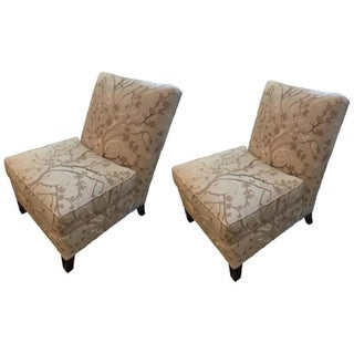 Beige Cherry Blossom Slipper Chairs - A Pair