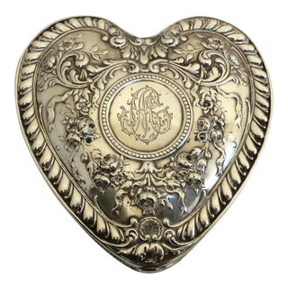 Antique Sterling Silver Heart Box