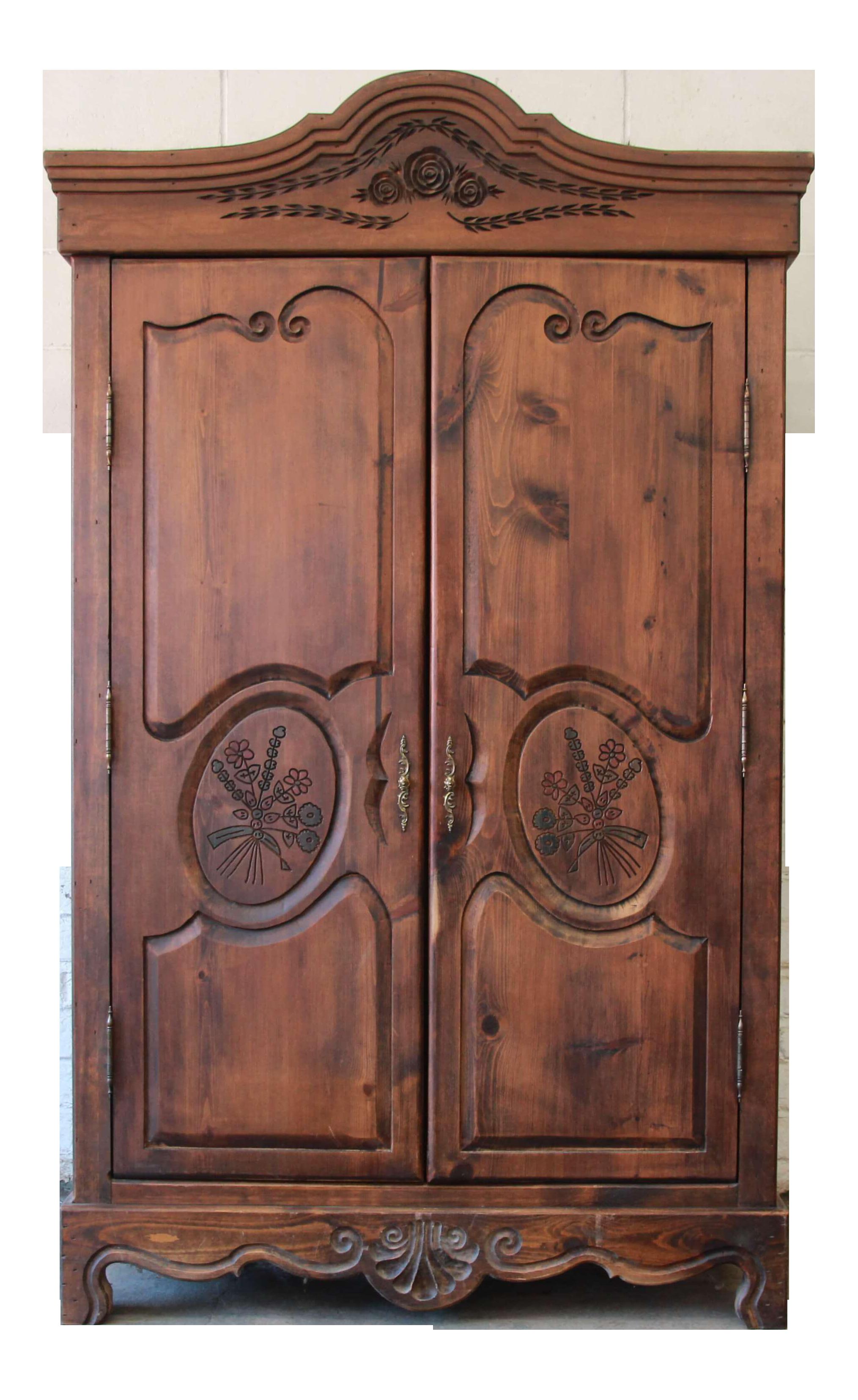 vintage french country spoon carved dark pine wardrobe by habersham plantation furniture