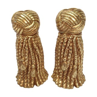 Large Gold Tassel Candle Holders - A Pair
