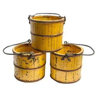 Shabby Chic Yellow Buckets - Set of 3