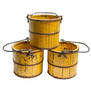 Shabby Chic Yellow Buckets - Set of 3