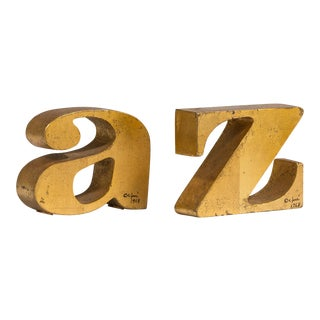 A Rare Pair of A-Z Gilded Bookends by Curtis Jere signed 1968