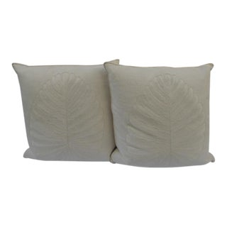 Belgian Linen Hand-Embroidered Single Leaf Pillows by Ankasa - A Pair