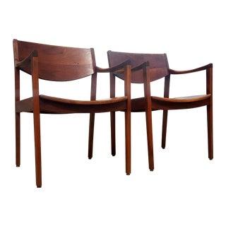Mid-Century Walnut Gunlocke Chairs - Pair