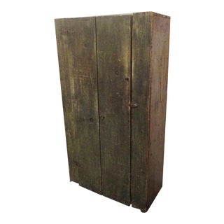 19th Century Wall Cupboard In Original Sage Green Over White Washed Paint