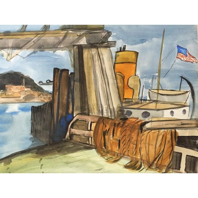 San Francisco Bay Alcatraz Mid Century Watercolor - Image 4 of 4