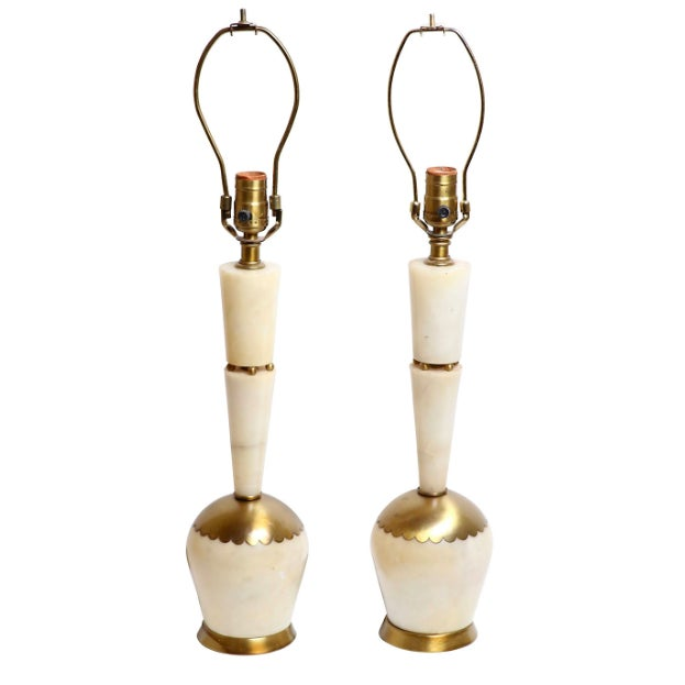 Image of Mid-Century Italian Marble & Brass Lamps - A Pair