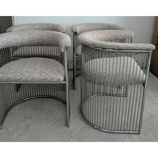 Platner Style Chrome & Fabric Chairs - Set of 4 - Image 3 of 3