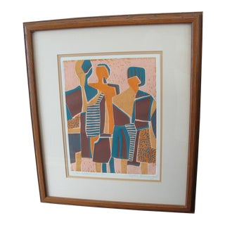 Vintage Abstract Limited Edition Linocut Print