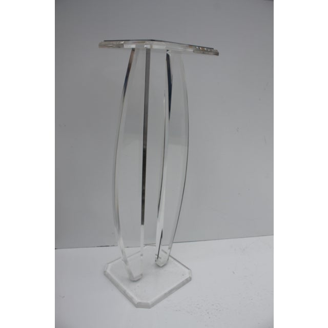 Oval Lucite Vintage Pedestal W/Glass Top Mirror - Image 3 of 9