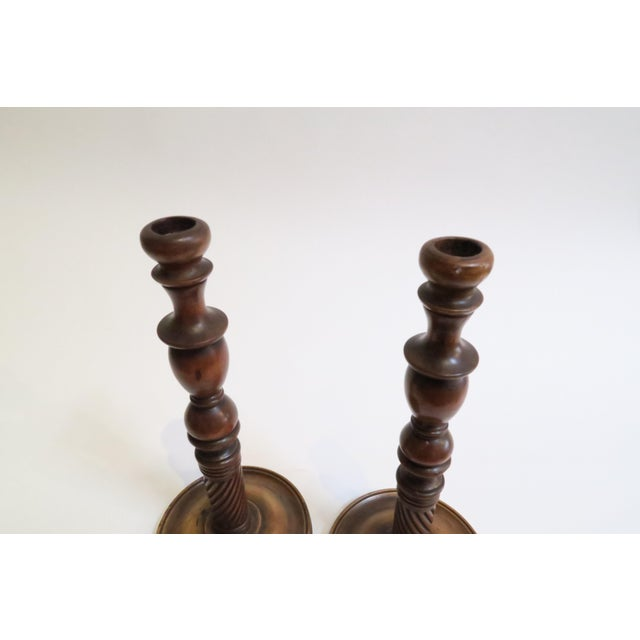 Carved Wood Candle Holders - A Pair - Image 5 of 6