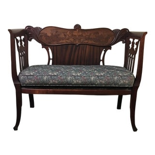 1920s Antique Mahogany Inlaid Detail Settee