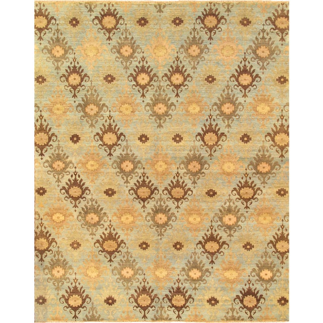 Image of Ikat Design Yellow Wool Rug - 6'x9'