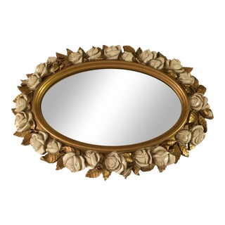 Vintgage Oval Homco Roses Ornate Mirror