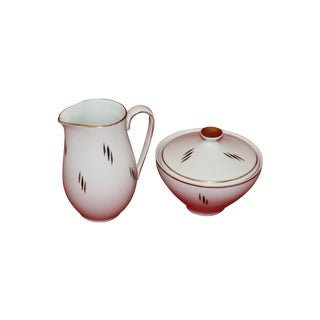 Mid-Century Modern German Porcelain Covered Sugar & Creamer