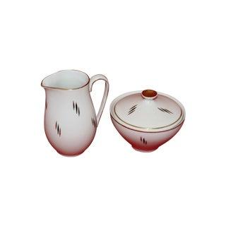 MCM German Porcelain Covered Sugar & Creamer