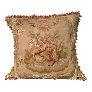 Antique Aubusson Textile Tapestry Pillow