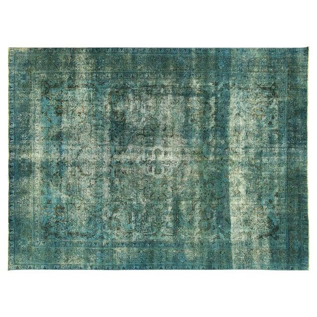 Irani Persian Blue Overdyed Wool Rug - 10'X13' - Image 1 of 8