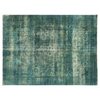 Irani Persian Blue Overdyed  Wool Rug - 10'X13'