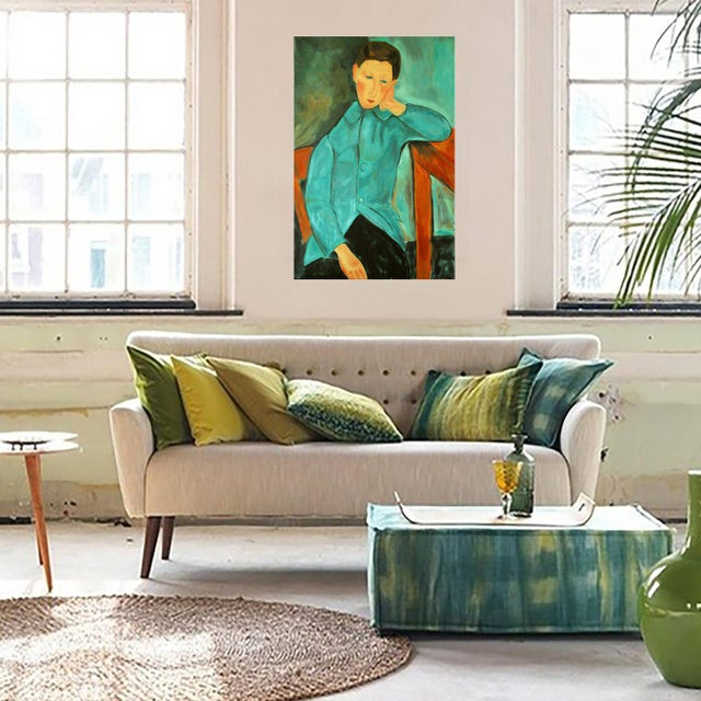 """""""Boy in Green"""" Oil Painting After Modigliani by Trixie Pitts - Image 4 of 5"""
