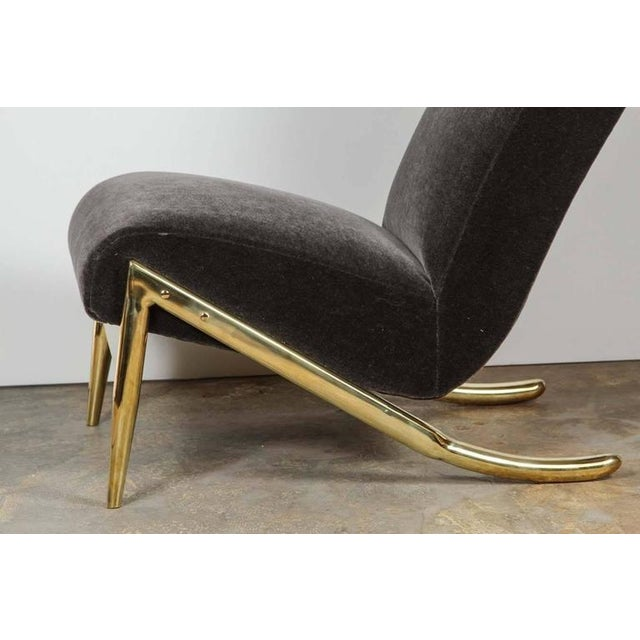Image of Paul Marra Slipper Chair in Brass with Mohair