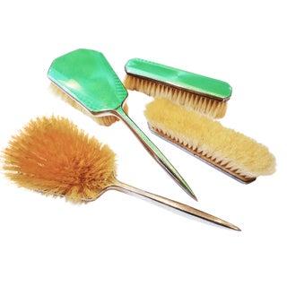 Art Deco Green Enamel Vanity Brushes - Set of 4