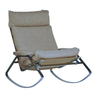 William Plunkett Reigate Chrome & Wool Rocking Chair