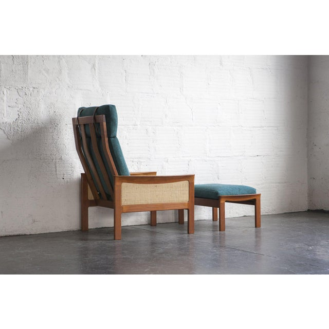 Danish High Back Lounge Chair & Ottoman - Image 5 of 10