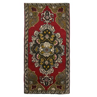 Turkish Floral Medallion Yastik Rug - 1′9″ × 2′10″