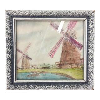 Vintage Framed Windmill Watercolor