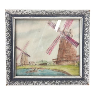 Vintage Framed Windmill Watercolor