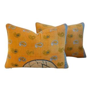 Custom Boho-Chic India Kantha Textile Pillows - A Pair