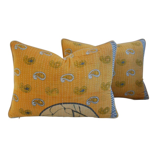 Custom Boho-Chic India Kantha Textile Pillows - A Pair - Image 1 of 10