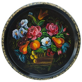 Round Floral Tole Tray