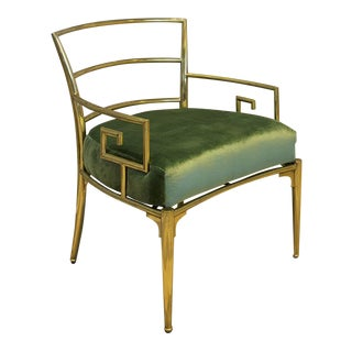 Green Silk Velvet Upholstered Brass Greek Key Chair