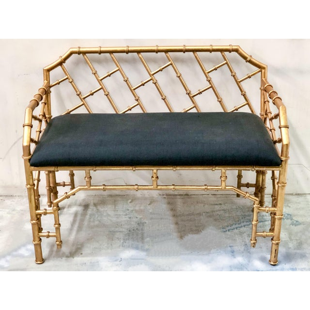 Gilt Metal Hollywood Regency Style Bench - Image 4 of 4