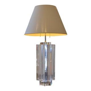 Monumental Les Prismatiques Heavy Lucite Lamp